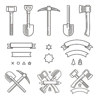 Elementos do logotipo: ferramentas de trabalho vintage, fitas e símbolos