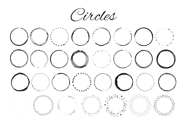 Elementos do logotipo handdrawn com círculos. projete seu próprio logotipo perfeito. modelos de logotipo. design de logotipo isolado no fundo e fácil de usar. ilustração vetorial