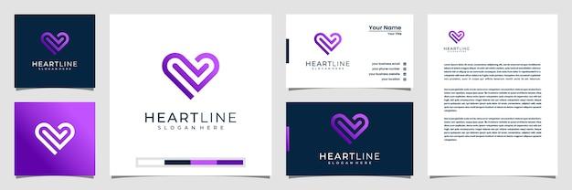Elementos do modelo do ícone do símbolo do coração. conceito de logotipo de cuidados de saúde com modelo de estilo de arte de linha. cartão de visita e papel timbrado