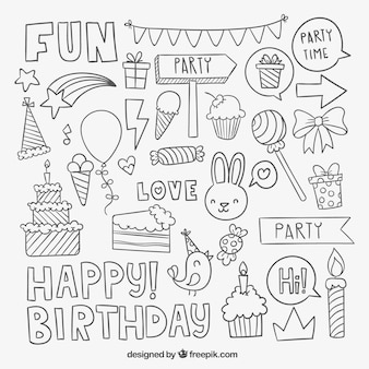 Elementos do partido de aniversário esboçado