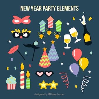 Elementos do partido de ano novo em design plano