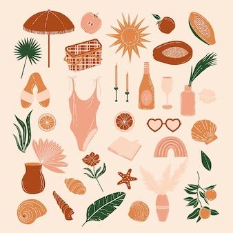 Elementos do piquenique de verão boho ilustração vetorial fundo e papel de parede de verão férias de férias