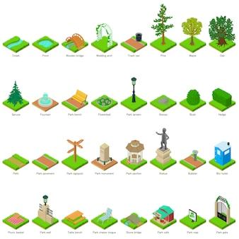 Elementos do projeto da paisagem dos elementos da natureza do parque ajustados. ilustração isométrica de 32 elementos de natureza parque paisagem ícones do vetor para web
