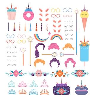 Elementos do rosto do unicórnio pônei. cabeça de unicórnios com penteado, juba e chifre. coroas e copos, asas e flores, conjunto de vetores de arco-íris. ilustração de cílio e cabelo, orelhas e penteado, coroa e flor