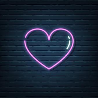 Elementos do sinal de néon do coração