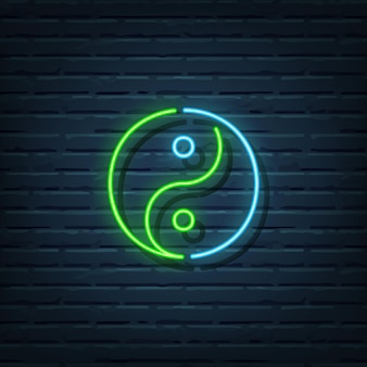 Elementos do sinal de néon yin yang