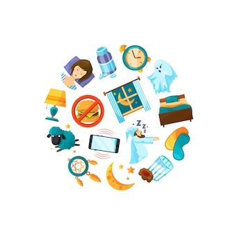 Elementos do sono dos desenhos animados reunidos na ilustração do círculo
