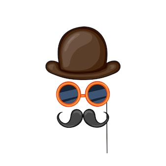 Elementos do traje para festas, chapéu, óculos, bigode