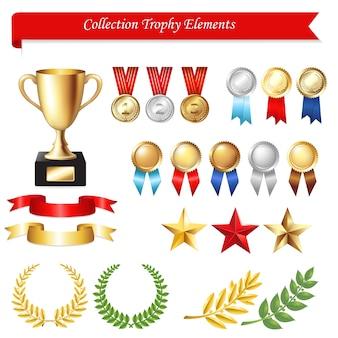 Elementos do troféu da coleção, sobre fundo branco, ilustração