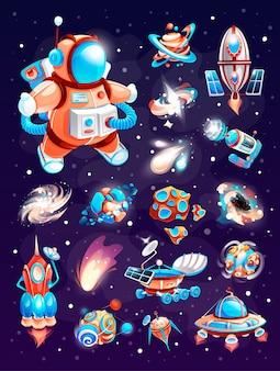 Elementos do vetor de cosmos no espaço