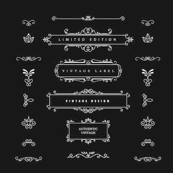 Elementos do vetor de design vintage