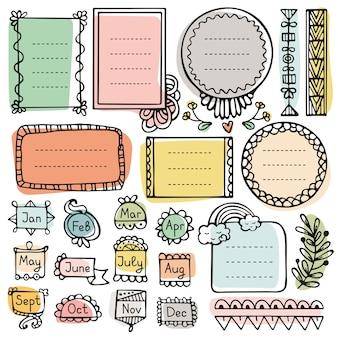 Elementos do vetor de mão desenhada de diário de bala para notebook, diário e planejador. quadros doodle ajustados isolados.