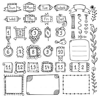 Elementos do vetor de mão desenhada de diário de bala para notebook, diário e planejador.