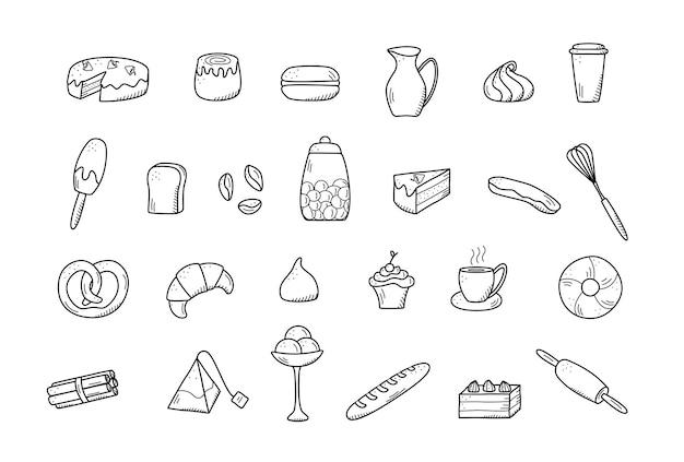 Elementos do vetor de salgadinhos doces e tortas, pratos de café. excelente para decorar cafés e menus. estilo de ícone do doodle.