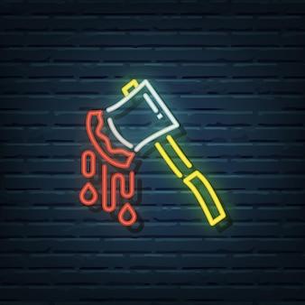 Elementos do vetor de sinal de néon com machado de halloween