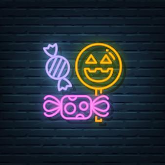 Elementos do vetor de sinal de néon de doces de halloween