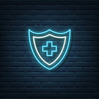 Elementos do vetor de sinal de néon de escudo médico