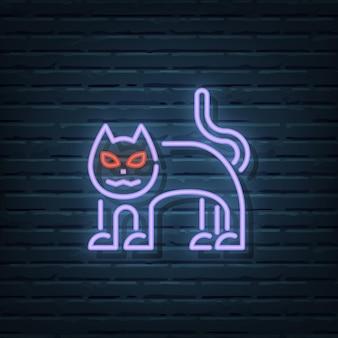 Elementos do vetor de sinal de néon de gato de halloween