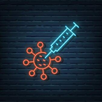 Elementos do vetor de sinal de néon de vacina contra vírus