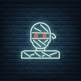Elementos do vetor de sinal de néon múmia