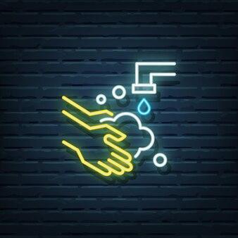 Elementos do vetor de sinal de néon para lavagem das mãos