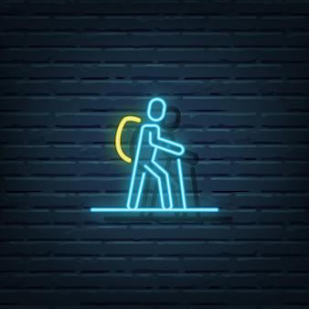 Elementos do vetor de sinal de néon para mochileiros