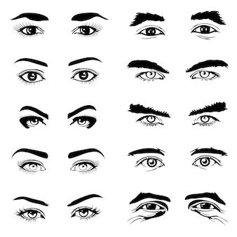 Elementos do vetor de sobrancelhas de olhos masculinos e femininos