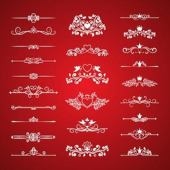 Elementos do vetor do design da decoração da página do dia dos namorados em fundo vermelho