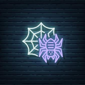 Elementos do vetor do sinal de néon da aranha
