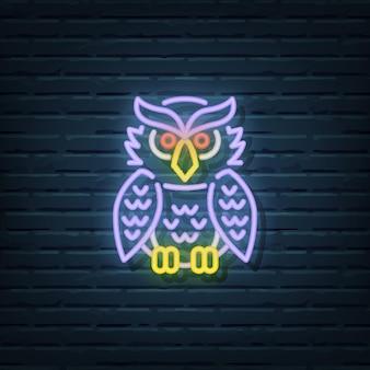 Elementos do vetor do sinal de néon da coruja