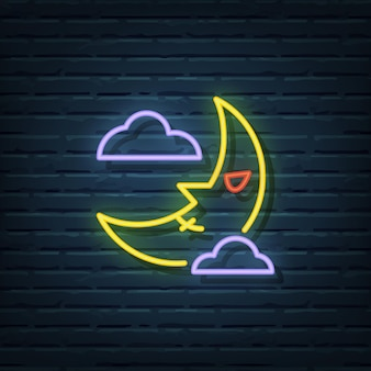 Elementos do vetor do sinal de néon da lua do dia das bruxas