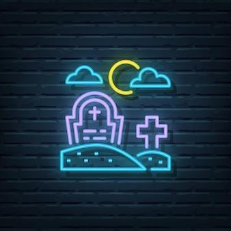Elementos do vetor do sinal de néon do cemitério