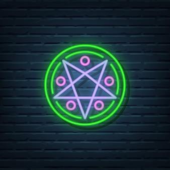 Elementos do vetor do sinal de néon do círculo mágico