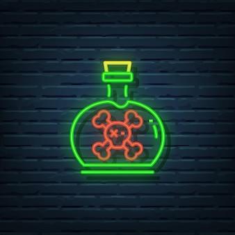 Elementos do vetor do sinal de néon do frasco do veneno