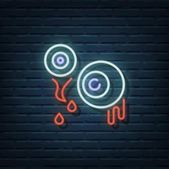 Elementos do vetor do sinal de néon do globo ocular