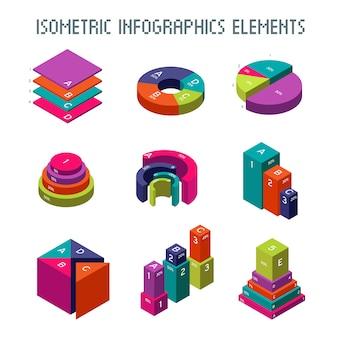 Elementos do vetor isométrico infográfico