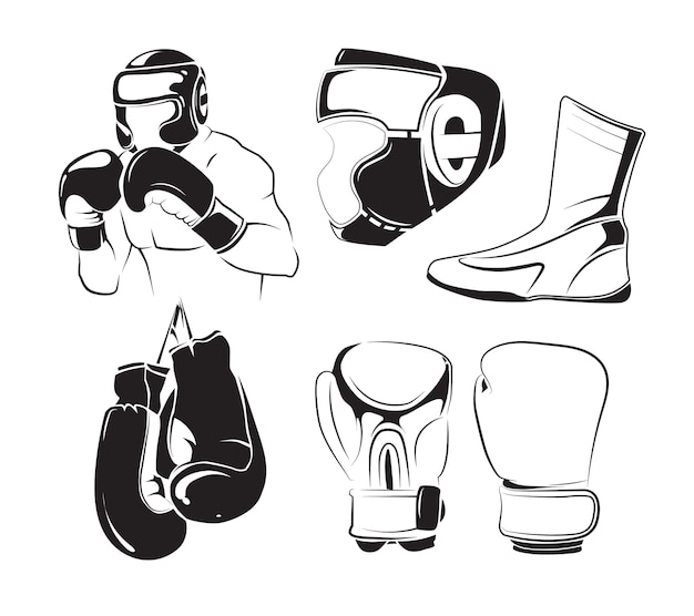 Elementos do vetor para emblemas de boxe vintage