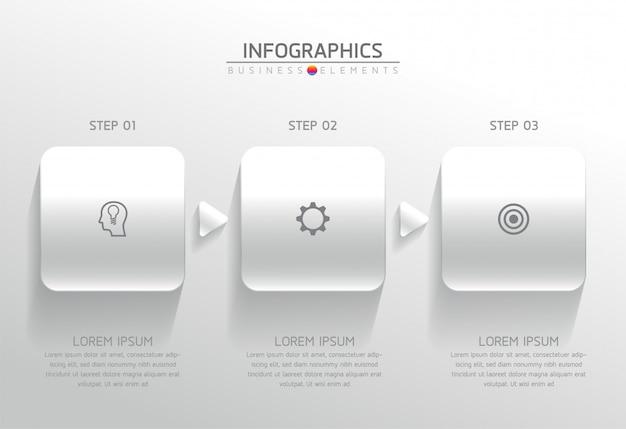 Elementos do vetor para infográfico. apresentação e gráfico. etapas ou processos. 3 passos.