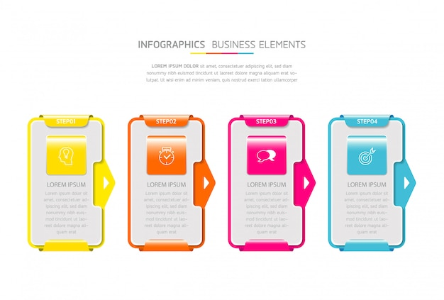 Elementos do vetor para infográfico. apresentação e gráfico. etapas ou processos. 4 passos