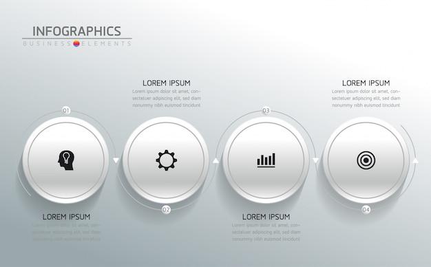 Elementos do vetor para infográfico. apresentação e gráfico. etapas ou processos. 4 passos.