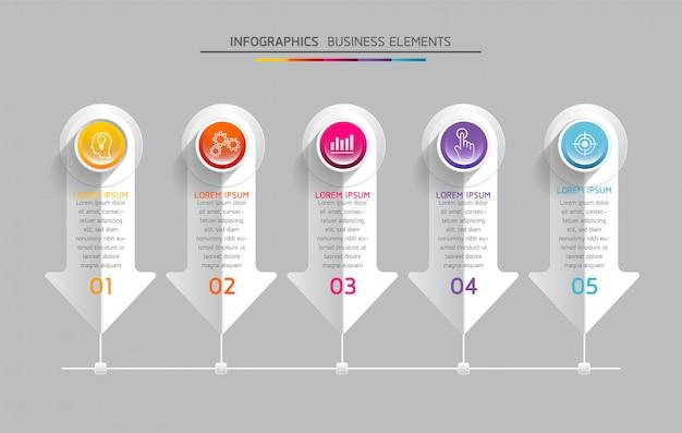 Elementos do vetor para infográfico. apresentação e gráfico. etapas ou processos. 5 passos.