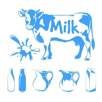 Elementos do vetor para logotipos, etiquetas e emblemas do leite. ilustração de fazenda de comida, vaca e bebida natural fresca