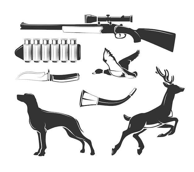 Elementos do vetor para rótulos de clube de caça vintage