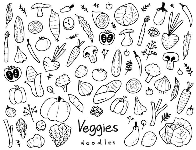 Elementos doodle desenhados à mão de vegetarianos