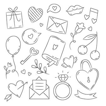 Elementos doodle do dia dos namorados