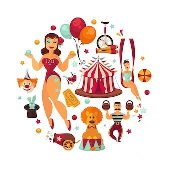 Elementos e acessórios do desempenho da mostra do circo.