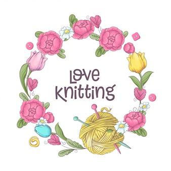 Elementos e acessórios para crochê e tricô.