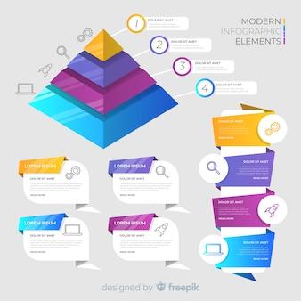 Elementos e banners infográfico isométricos