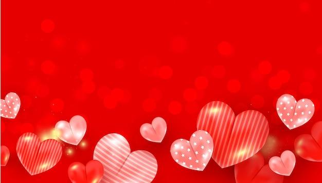 Elementos e brilhos em forma de coração para design de banner romântico.