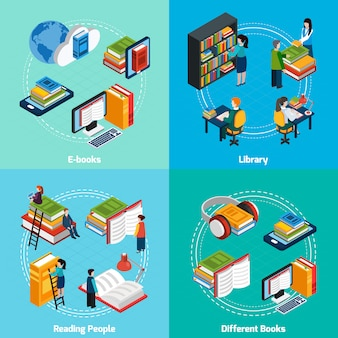 Elementos e caracteres isométricos da biblioteca composições